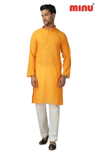Minu Yellow Pure Cotton Kurta Exclusive Newly Launched Menswear