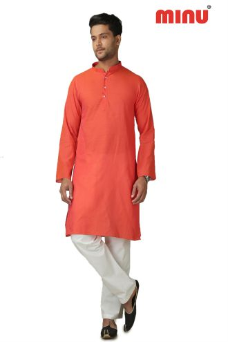 Minu Brick Orange Pure Cotton Kurta Exclusive Newly Launched Menswear