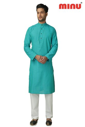 Minu Til Green Pure Cotton Kurta Exclusive Newly Launched Menswear