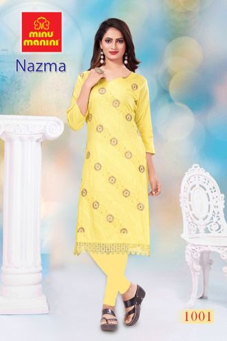 Minu Yellow Cotton Embroidered Nazma With Schiffli Lace Kurti