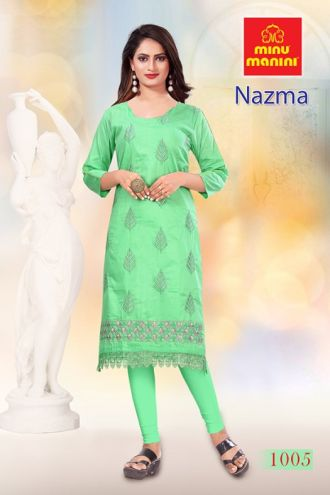 Minu Green Cotton Embroidered Nazma With Schiffli Lace Kurti