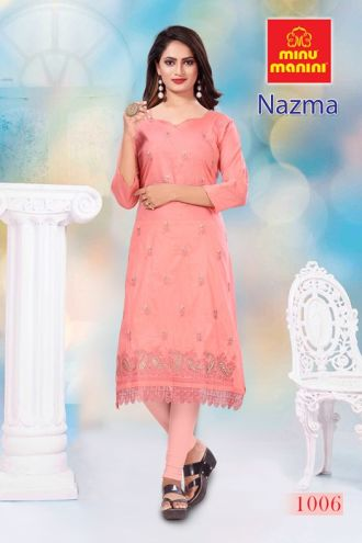 Minu Salmon Cotton Embroidered Nazma With Schiffli Lace Kurti