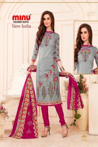 Minu Grey Cotton Printed Designer Salwarsuit