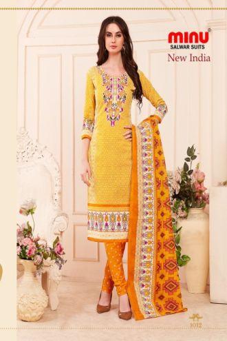 Minu Yellow Cotton Printed Designer Salwarsuit