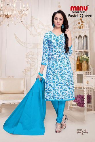 Minu Blue Cotton Floral Print Salwarsuit