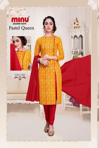 Minu Golden Cotton Floral Print Salwarsuit