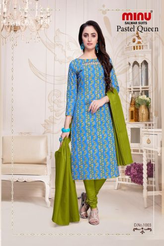 Minu Blue Cotton Floral Print Salwarsuit