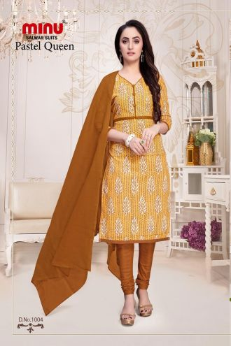 Minu Yellow Cotton Floral Print Salwarsuit