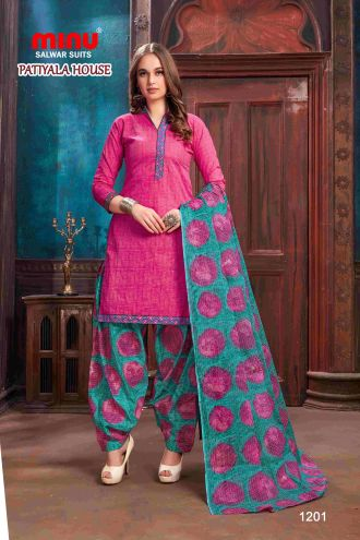 Minu Pink Minu Cotton Printed Patyala Unstitched Salwar Set Salwarsuit
