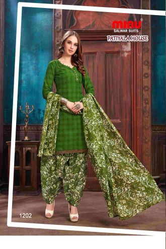 Minu Green Minu Cotton Printed Patyala Unstitched Salwar Set Salwarsuit