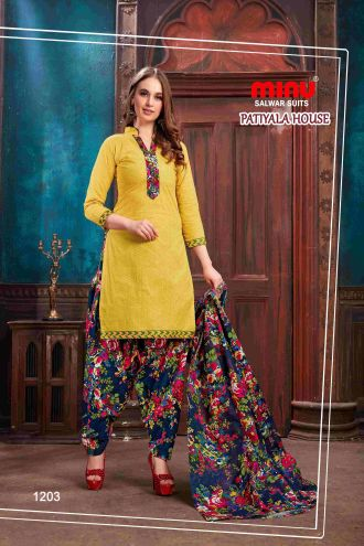 Minu Yellow Minu Cotton Printed Patyala Unstitched Salwar Set Salwarsuit