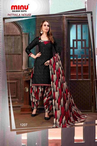 Minu Black Minu Cotton Printed Patyala Unstitched Salwar Set Salwarsuit