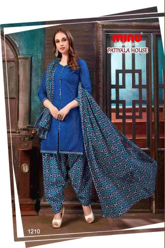 Minu Blue Minu Cotton Printed Patyala Unstitched Salwar Set Salwarsuit
