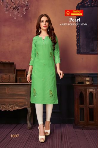 Minu Green Cotton Satin Embroidered Designer Kurti