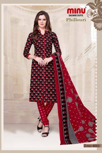Minu Red Cotton Printed Designer Salwarsuit