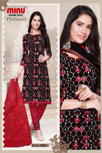 Minu Black Cotton Printed Designer Salwarsuit
