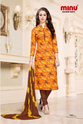 Minu Yellow Cotton Printed Fashionable Dress Material Salwarsuit