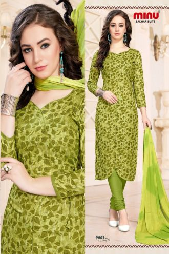 Minu Green Cotton Printed Fashionable Dress Material Salwarsuit