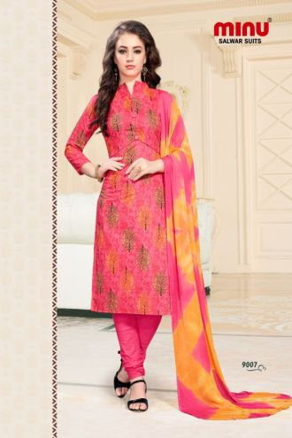 Minu Salmon Cotton Printed Fashionable Dress Material Salwarsuit