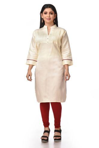 Minu Off White Satin Cotton Kurti