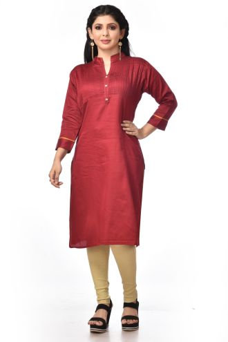 Minu Red Satin Cotton Kurti