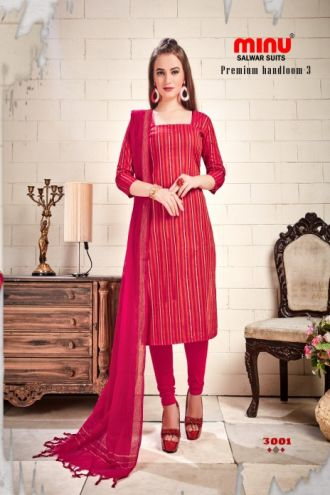 Minu Red Cotton Handloom Designer Salwarsuit