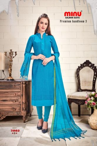 Minu Blue Cotton Handloom Designer Salwarsuit