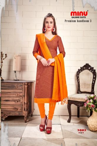 Minu Yellow Cotton Handloom Designer Salwarsuit