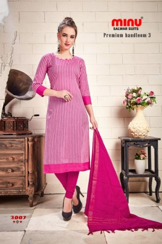 Minu Pink Cotton Handloom Designer Salwarsuit