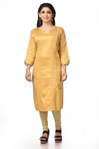 Minu Golden Yellow Satin Kurti