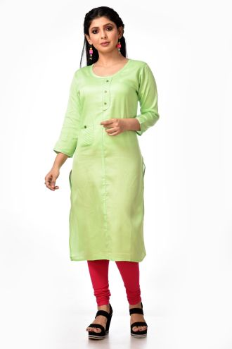 Minu Lime Green Satin Kurti