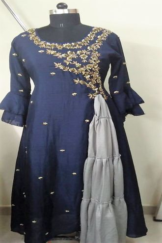 Minu Denim Blue Dola Silk With Heavy Jardousi Work Gown