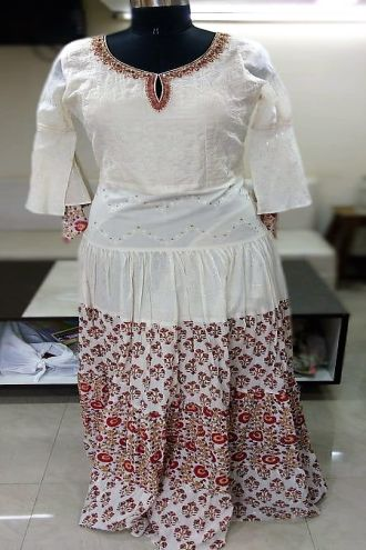 Minu White Pure Cotton With Chikan Work Gown