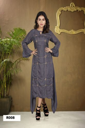 Minu Grey Silk With Embroidered Touch Gown