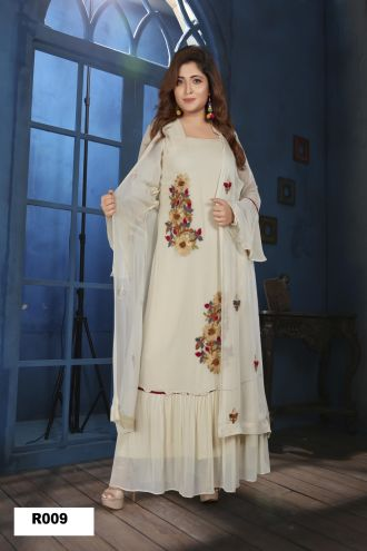 Minu Light Cream Georgette Fabric With Heavy Embroidered Work Gown