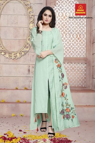 Minu Light Green Dola Silk With Hand Embroidered Fashionable Design Gown