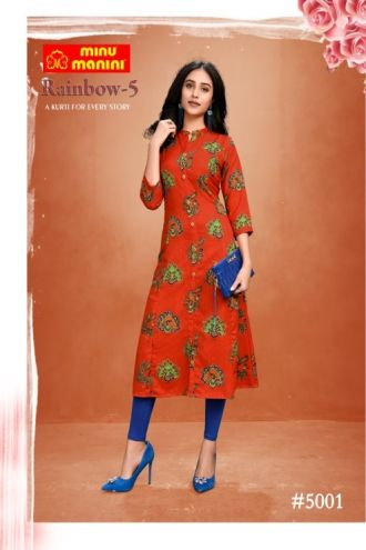Minu Red Premium Modal Long Ethnic Wear Kurtis Kurti