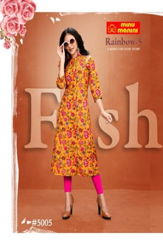 Minu Multi Premium Modal Long Ethnic Wear Kurtis Kurti