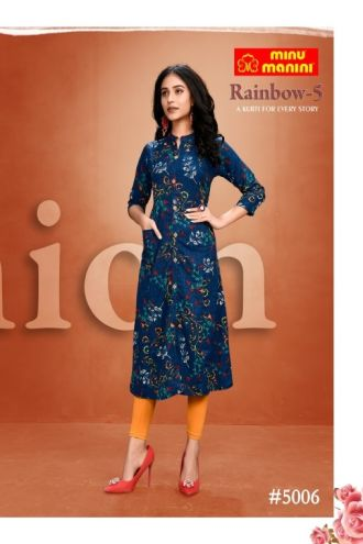 Minu Blue Premium Modal Long Ethnic Wear Kurtis Kurti