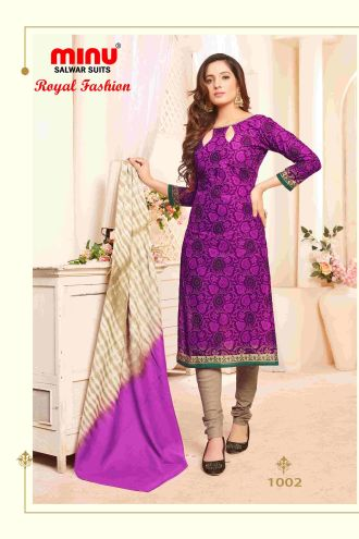 Minu Purple Minu Cotton Printed Unstitched Salwar Set Salwarsuit