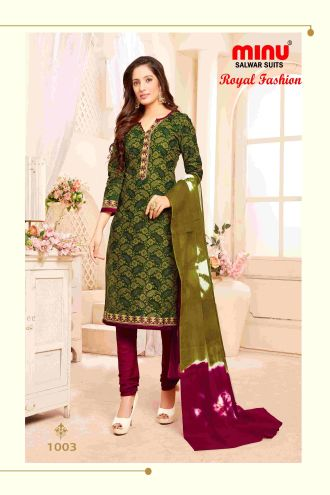 Minu Green Minu Cotton Printed Unstitched Salwar Set Salwarsuit