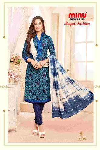 Minu Blue Minu Cotton Printed Unstitched Salwar Set Salwarsuit