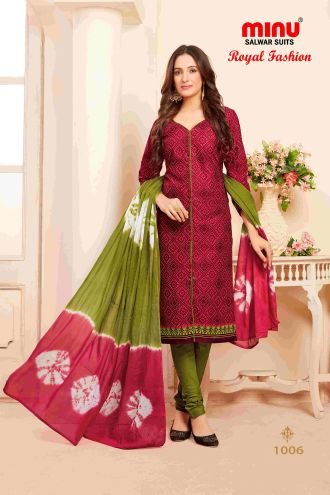 Minu Red Minu Cotton Printed Unstitched Salwar Set Salwarsuit
