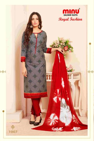 Minu Grey Minu Cotton Printed Unstitched Salwar Set Salwarsuit