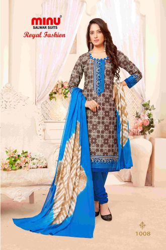 Minu Brown Minu Cotton Printed Unstitched Salwar Set Salwarsuit