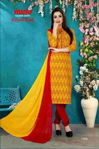Minu Yellow Minu Cotton Printed Unstitched Salwar Set Salwarsuit