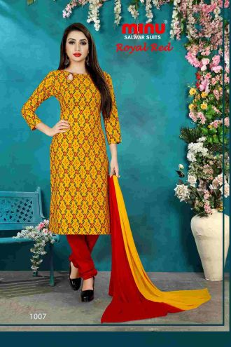 Minu Yellow Minu Cotton Printed Unstitched Salwar Set Salwarsuit
