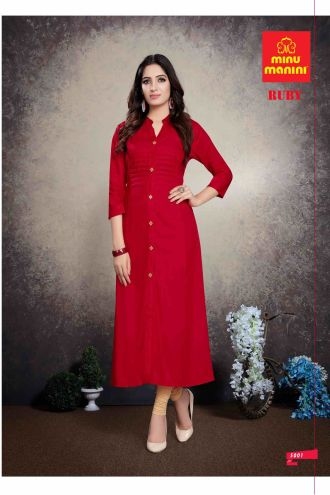 Minu Red Premium Rayon Solid Color Kurti Kurti