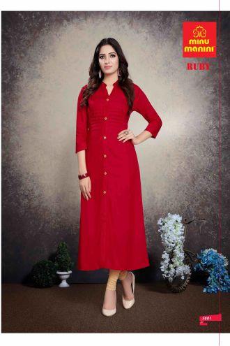 Minu Red Premium Rayon Solid Color Kurti Kurti