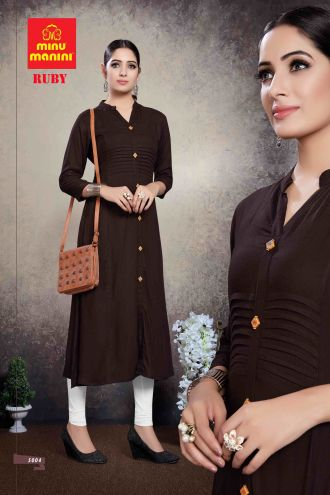 Minu Brown Premium Rayon Solid Color Kurti Kurti
